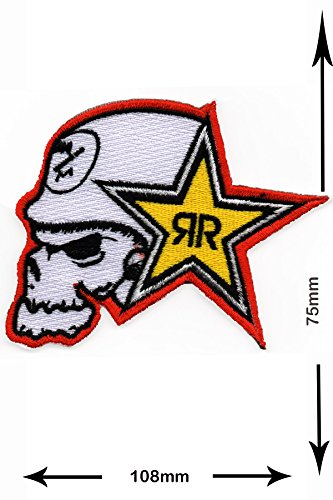 Patch - Metal Mulisha with Rockstar Energy Drink - Skull with Helmet - HQ - Drinks - Brands - Vintage - Iron on Patch - Embroidered - Applique - Sign - Badge - Costume - Gift - Patch555