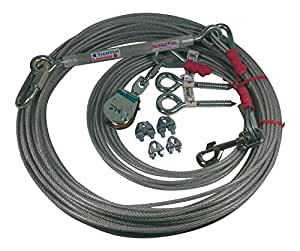 Freedom Pet Supply 75 Ft Aerial Dog Trolley Run Leash Harness Cable Overhead FDR-75