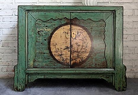 Opium Outlet Kommode Sideboard Kästchen Schränkchen Kolonialstil Shabby Chic Style dezente Motive (Design 1)