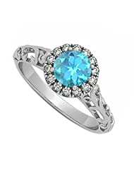 Created Blue Topaz And Cubic Zirconia Halo Filigree Engagement Ring In 925 Sterling Silver
