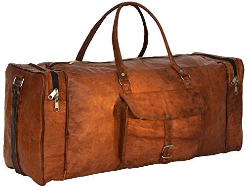 "Gusti Leder nature ""Toby"" Genuine Leather Travel Shoulder Holdall Vintage Bag Unisex Brown R28b"