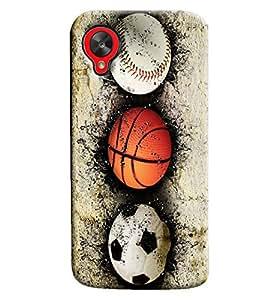 Blue Throat Baseball Football And Cricket Ball Hard Plastic Printed Back Cover/Case For LG Google Nexus 5