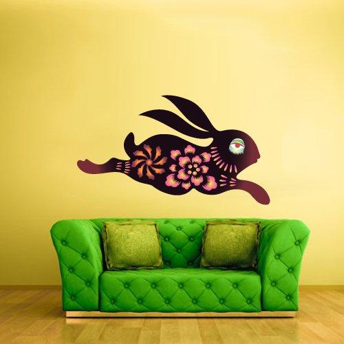 Full Color Wall Vinyl Sticker Decals Decor Art Bedroom Design Mural Kids Nursery Flower Hare Cony Bunny Rabbits Coney Animal (Col414) front-923621
