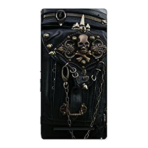 Premium Zip Chain Back Case Cover for Sony Xperia T2