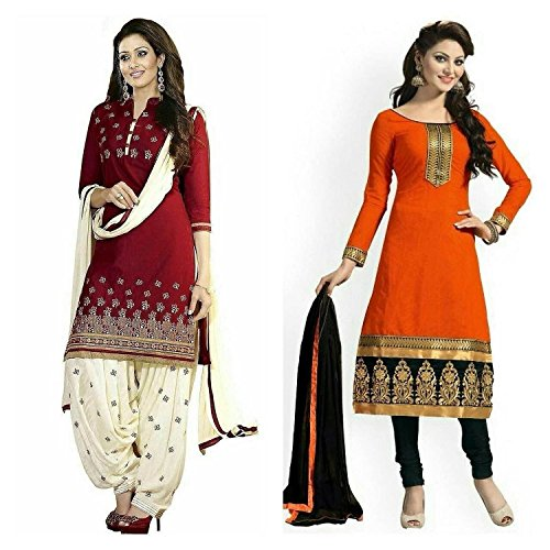 Shiroya Brothers Women's Design Designer Party Wear Low Price sale Offer red&orenge Cotton Unstitched Patiala Salwar Kameez Suit Dress Material With Dupatta (Combo pack of 2)(Shiroya_517_Red)(Shiroya_533_Orange)
