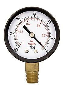 """2"""" Vacuum Gauge OEM - 1/4"""" NPT Lower Mount - 30 in Hg to 0"""