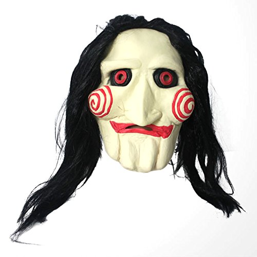 Hi-mall Saw Movie Jigsaw Puppet Mask Creepy Scary Halloween Head Latex Mask