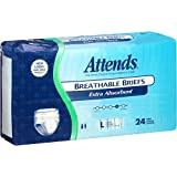 Attends Incontinence Care Breathable Briefs for Adults, Extra Absorbent, 24 Count (Pack of 3)