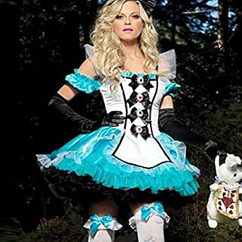 Amazon.com: JOE Deluxe Alice and Bunny White and Blue Satin Dress