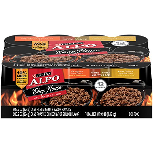 Purina ALPO Chop House Filet Mignon and Bacon Flavors/Roasted Chicken and Top Sirloin Flavors Wet Dog Food - 12-13.2 oz. Cans (Dog Canned Food compare prices)