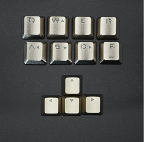 Haodasi Chrome Plating Zinc QWERASDF+UP Down Left Right Metal Key Cap metallo keycap Keycaps Button for Mechanical Keyboard tastiera meccanica