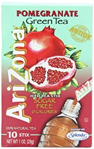 AriZona Pomegranate Green Tea Iced Tea Stix Sugar Free, 1-Ounce Boxes (Pack of 6) by AriZona