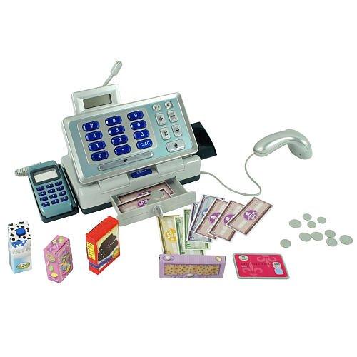Just Like Home Talking Cash Register Blue front-994745