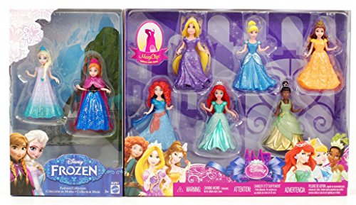 8-PC Doll Gift Set: 3.75 Disney Princess, featuring Anna and Elsa from Frozen (Mattel Clip Dolls compare prices)