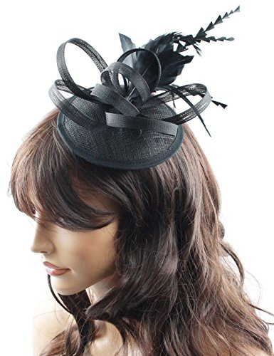 Jacqueline Ladies Sinamay Fascinator Hat with Hair Clip and Feathers Tea Party Derby Wedding Accessory for Adults Women Teens (Black)