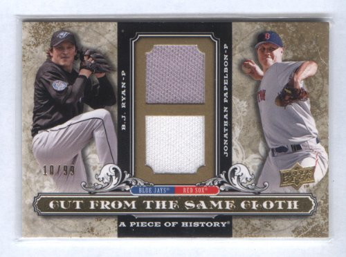 Jonathan Papelbon B.J. Ryan 2008 Upper Deck A Piece Of History Baseball Cut From The Same Cloth Dual Game Worn Jersey Card #Csc-Rp Boston Red Sox Toronto Blue Jays Philadelphia Phillies