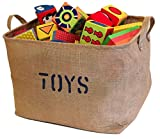 Large and Medium Jute Storage Bin, Eco-Friendly for Toy Storage. Storage Basket for organizing Baby Toys, Kids Toys, Baby Clothing, Children Books, Gift Baskets.