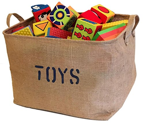 Large Jute Storage Bin perfect for Toy Storage. Storage Basket for organizing Baby Toys, Kids Toys, Baby Clothing, Children Books, Gift Baskets. (Toy Storage Containers compare prices)