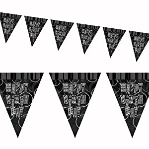 12ft Black Sparkle Happy Birthday Pennant Flag Banner Party Decoration . from Unique