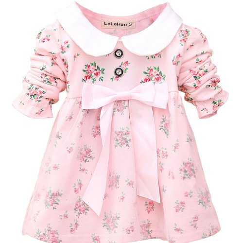 Little Hand Baby Girls' Mini Floral Bowknot Banded Waist Mesh Dresses 3-15M front-1077431