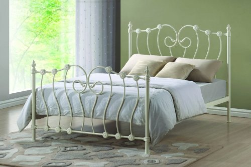 King Size 5FT Ivory Metal Bed Frame with sprung slatted base