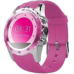 Sky®Sweatproof Smart Watch Phone SmartPhones(Pink + Silver)