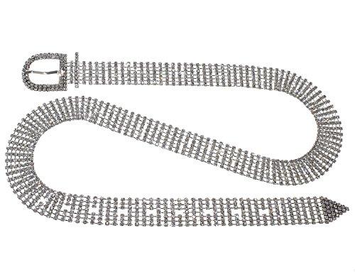 Crystal Rhinestone Chain Waist Buckle Belt Fashion Accessory for Women (7 Line, Silver)