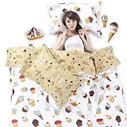 YOYOMALL Original Cartoon Chocolate Ice Cream Bedding Sets,Lovely Dessert Life Bedding Sets for Kids,Queen King Size (Queen)