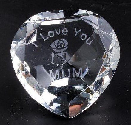 CLEAR CRYSTAL Heart, I love You Mum,  Engraved