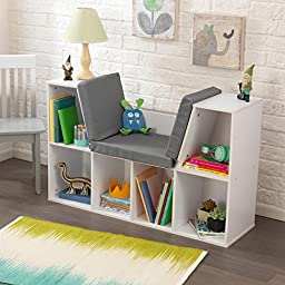 KidKraft White 6 Storage Spaces Bookcase with Comfortable Grey Cushion as Reading Nook
