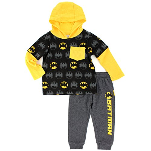 [Warner Brothers Toddler Boys' 2 Piece Batman 2fer Hoodie with Fleece Pant, Black, 3T] (Boys Batman Outfit)