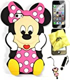 Bukit Cell ® 3D Disney Case Bundle - 5 items: PINK 3D Cute Minnie Mouse Soft Silicone Case Cover for IPHONE 5S 5 5G + BUKIT CELL Trademark Lint Cleaning Cloth + Minnie Figure Anti Dust Plug Stylus Touch Pen + Screen Protector + METALLIC Stylus Touch Pen with Anti Dust Plug