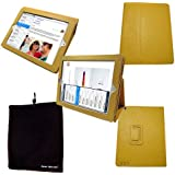Bear Motion (TM) 100% Genuine Leather Case for iPad2 / iPad 3 (the new iPad) / iPad 4 with built-in Stand - Support auto sleep/awake function (Yellow)