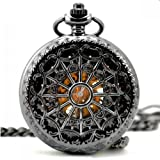 Vantasy Classic Antique Roman Half Hunter Black Steel Metal Hollow Skeleton Hand Wind Mechanical Pocket Watch Long Chain Value Quality