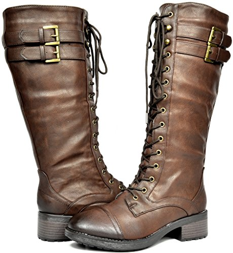 DREAM PAIRS GEORGIA Women's Winter Knee High Fur Lining Lace Up Buckles Combat Boot Brown Size 7.5