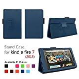 Case for Fire 7 2015 - Folio Case with Stand for Kindle Fire 7 (5th Generation, Sept 2015 Model) - (Dark Blue)