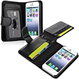 eForCity Leather Case with Wallet Compatible with Apple iPhone 5/5S - Retail Packaging - Black