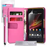 Sony Xperia M Case Hot Pink PU Leather Wallet Cover With Stylus Pen