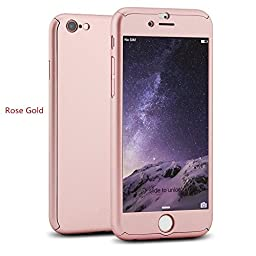 iPhone 6 Plus/6s Plus 5.5 Inch Full Body Case-Superstart Rose Gold Ultra Slim Front and Back PC Hard Cover + Tempered Glass Sreen Protector for iPhone 6 Plus/6s Plus 5.5 Inch