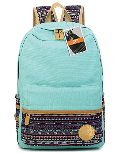 Leaper-Casual-Lightweight-Canvas-Laptop-BagShoulder-BagSchool-Backpack-Large-Water-Blue-2