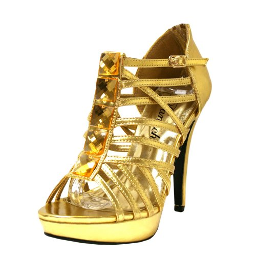 Gold Strappy Bootie Sandal Pumps With Gems Shoe Size 9