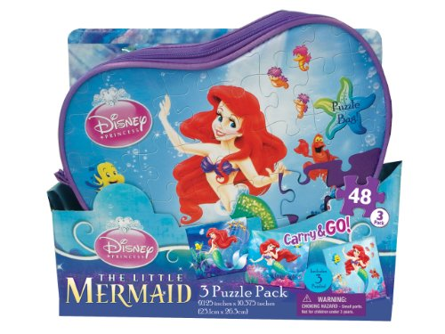 Disney Ariel Carry and Go Puzzle in Bags, 3-Pack