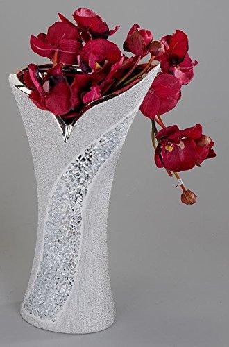 Exklusive Deko Vase Blumenvase aus Keramik und Glas Mosaik-silber 16x30...