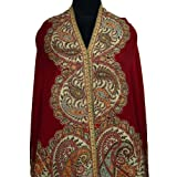 Ibaexports Red Bridal Base Pure Wool Kani Shawl Kashmiri Lady Scarf Stole Shawl Wrap India 80
