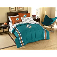 Miami Dolphins 7 Pc FULL Size Bed in a Bag (Comforter, 1 Flat Sheet, 1 Fitted Sheet,... by Northwest