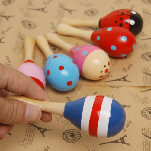 TinkSky Funny Children Kids'' Wooden Maraca Rattle Shaker Musical Instrument Educational Toy (Random Color Pattern)