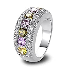 buy Psiroy 925 Sterling Silver Grace Womens Band Charms Gorgeous 3.5Mm*3.5Mm Round Cut Peridot Filled Ring