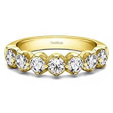 buy 0.7 Ct. Cz Traditional Double Shared Prong Wedding Band In Yellow Silver (0.7 Ct. Twt.)