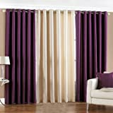 PINDIA 3 PC COMBO Faux Silk Eyelet Door Window Curtain, Polyester Plain Ringtop - 4ft Purple2 Cream1