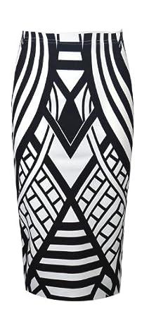 Womens Monochrome Weaved Pattern Pencil Midi Skirt (Sty) (8/10 (uk 12/14), black/white)